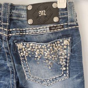 Miss Me Sequin + Rhinestone Waterfall Skinny Jeans